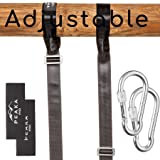 Extra Long (7 foot) Adjustable Tree Swing Straps Hanging Kit - Safe Hammock and Swing Hangers Set - Professional Climbing Hardware - Ultra Strong 2,200  LBS - For Toddlers and Children - By Peaka Pro (Color: Black, Tamaño: small)