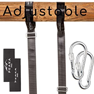 Extra Long (7 foot) Adjustable Tree Swing Straps Hanging Kit - Safe Hammock and Swing Hangers Set - Professional Climbing Hardware - Ultra Strong 2,200LBS - For Toddlers and Children - By Peaka Pro