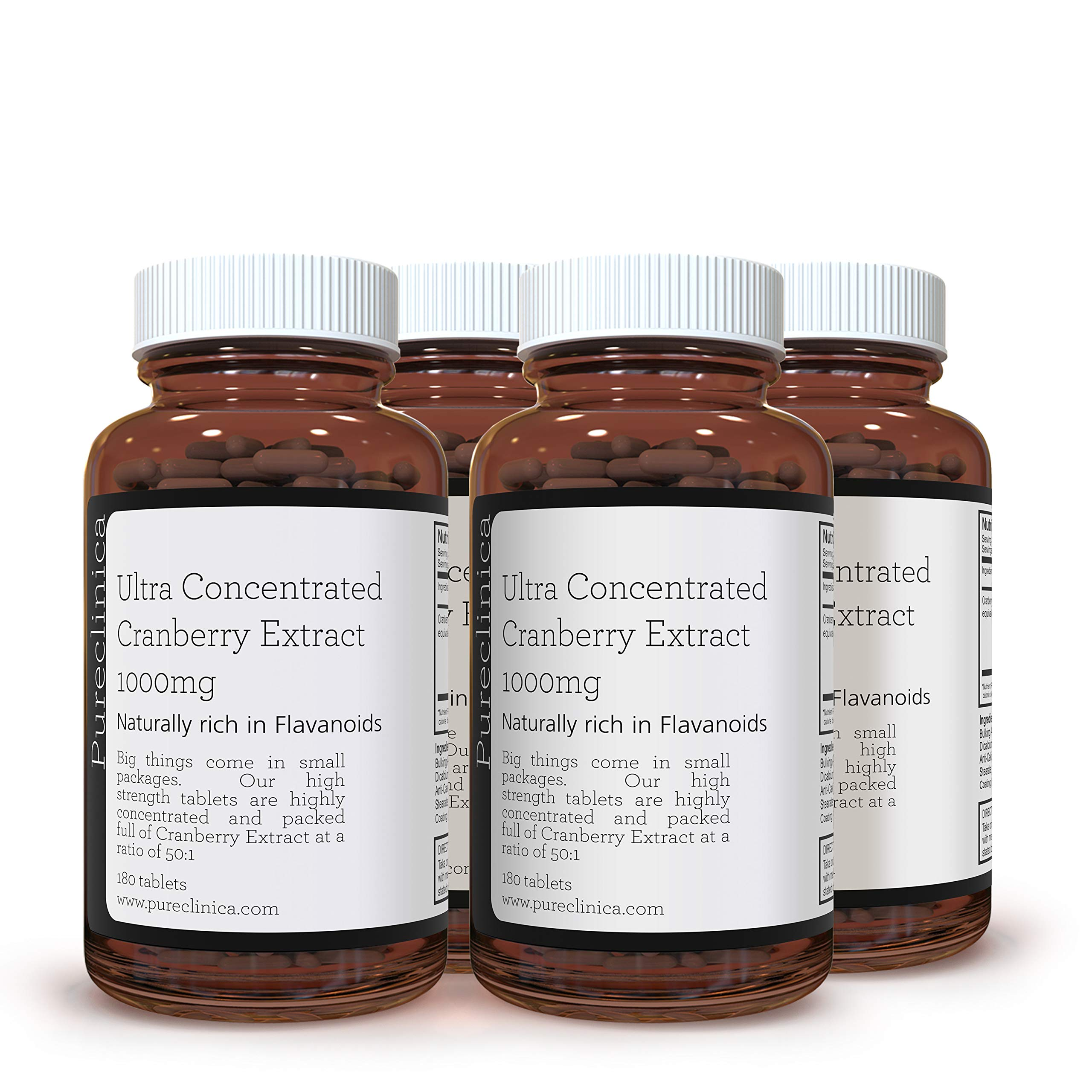 Ultra Concentrated Cranberry Extract 1000mg x 720 Tablets (4 Bottles of 180 Tablets - 1 Year Supply!) SKU: CRAN3x4