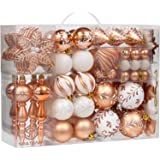 Sea Team 108-Pack Assorted Shatterproof Christmas Ball Ornaments Set Decorative Baubles Pendants with Reusable Hand-held Gift Package for Xmas Tree (Copper)