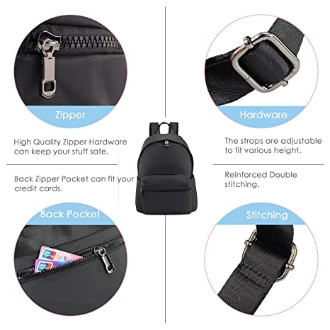 f44cca3a5788 Amazon.com  ZORFIN Fashion Nylon Backpack for Women Men Rucksack Purse  School Bags for Girls Waterproof Book Bag  Clothing