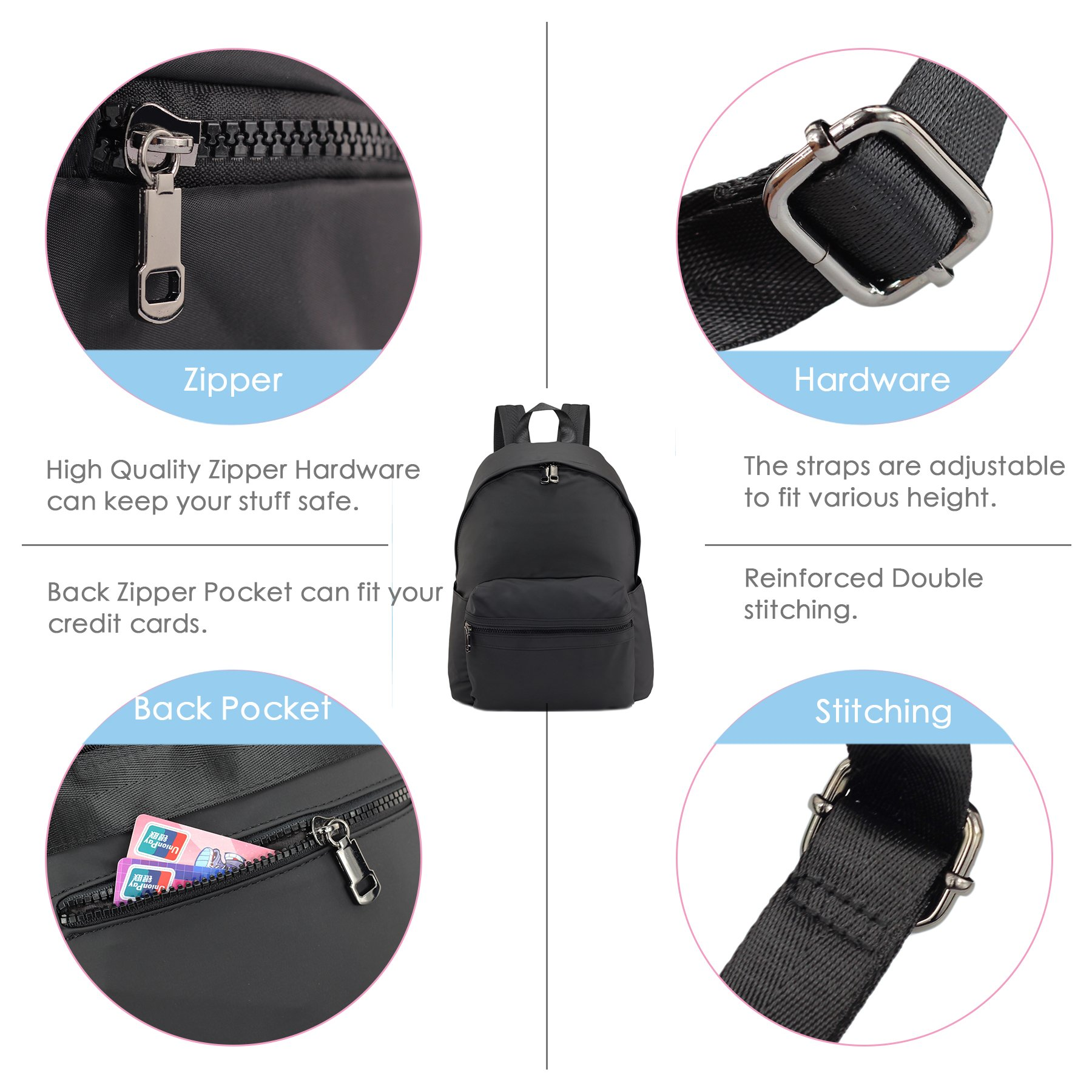ZORFIN Fashion Nylon Backpack for Women&Men Rucksack Purse School Bags for Girls Waterproof Book Bag by ZORFIN (Image #7)