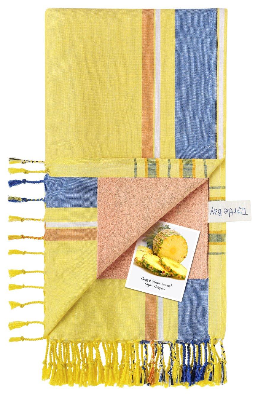 Turtle Bay - Toalla de Playa/Pareo - Toalla de baño - Kikoy Towel Ukunda - Color : Imperial Yellow - Tamaño : 95 x 170 cms: Amazon.es: Hogar