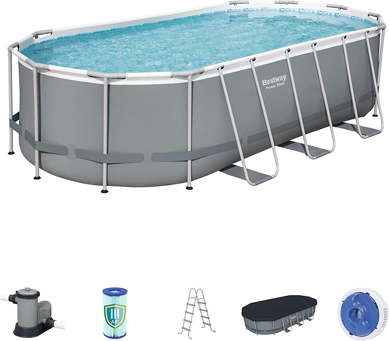 Bestway 56711e Power Steel 18 X 9 X 48 Outdoor Oval Frame Above Ground Swimming Pool Set With 1500 Gph Cartridge Filter Pump Cover Ladder Gray Garden Outdoor