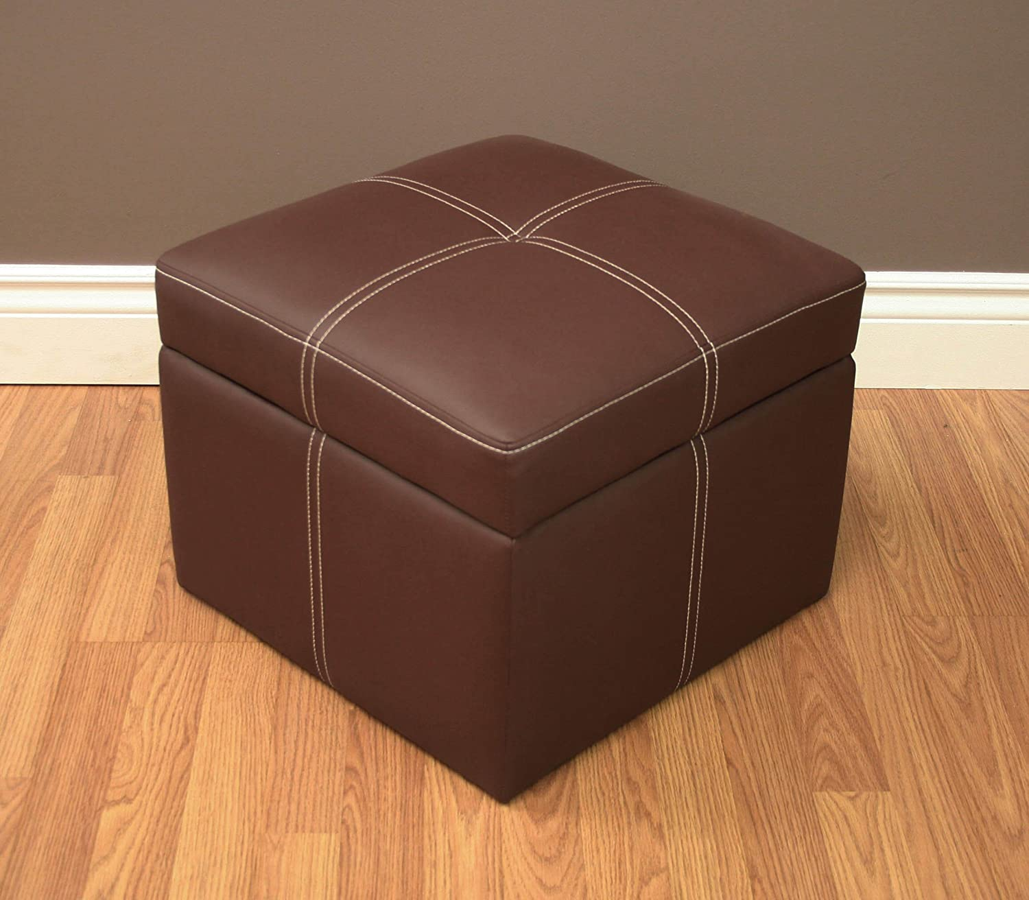 Amazon.com: DHP Delaney Small Square Storage Orroman   Brown: Kitchen U0026  Dining