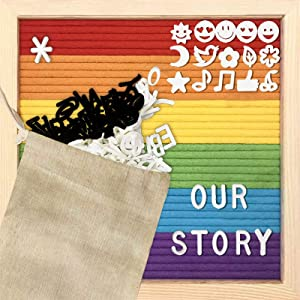Felt Letter Board Kits 10x10 Inch -Rainbow-with Rustic Wood Frame, Message Board, Scissors,Storage Bag,Frame Stand,Changeable Wooden Message Board Sign, Home Decor,Living Room Decor,Desk Art Decor