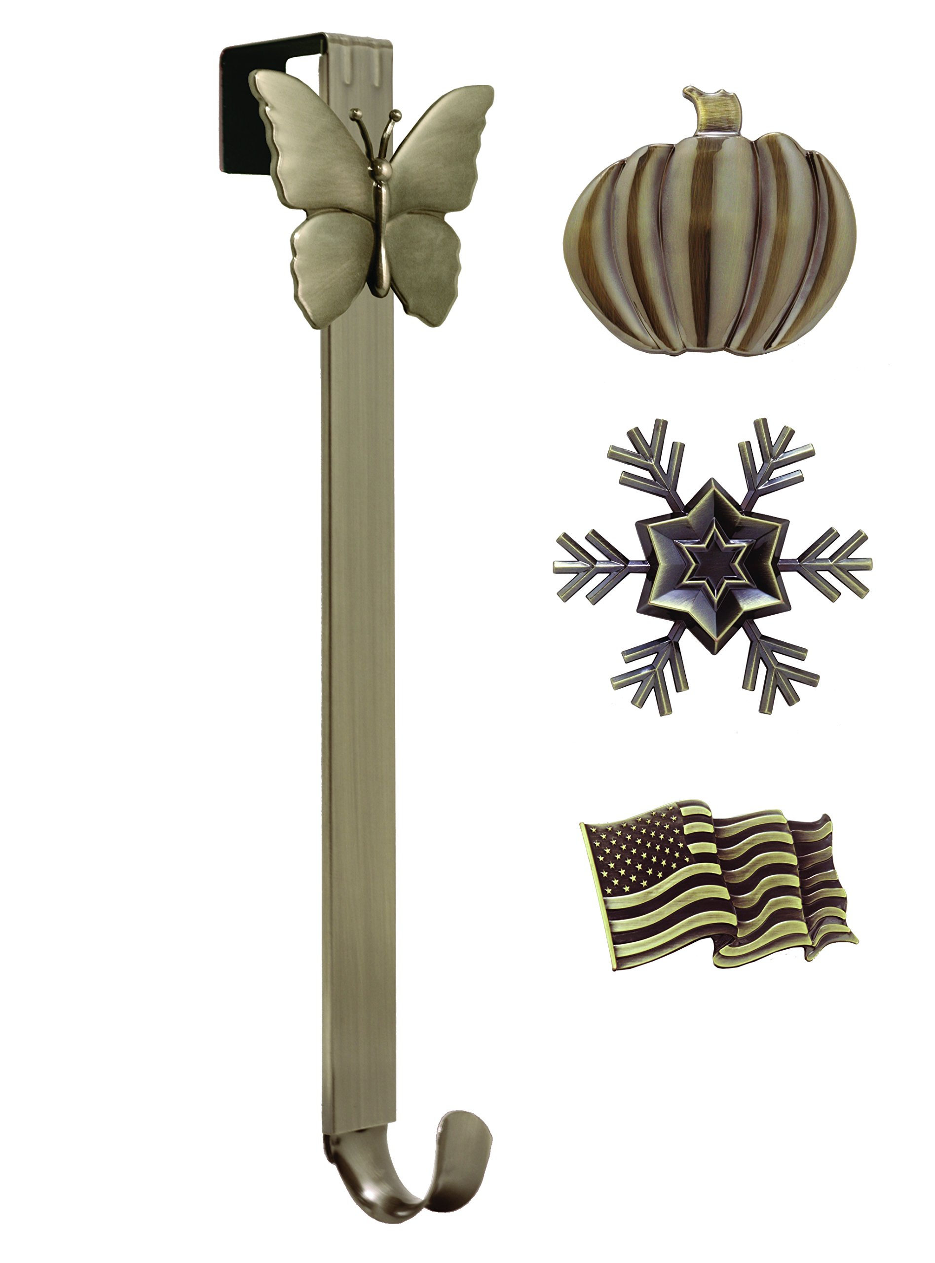 Adjustable Length Wreath Hanger with Interchangeable Icons (4 WREATH HANGERS IN 1) (Oil-Rubbed Bronze-Flag/Snowflake/Butterfly/Pumpkin)