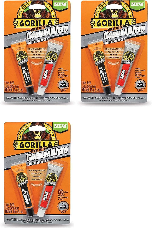 Pack of 1 Gorilla Heavy Duty GorillaWeld Steel Bond 2-Part Epoxy, New