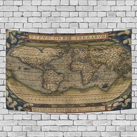coosun mapa del mundo para colgar en la pared – tapiz alfombra casa Decorarion de pared para salón o dormitorio Decor, 90