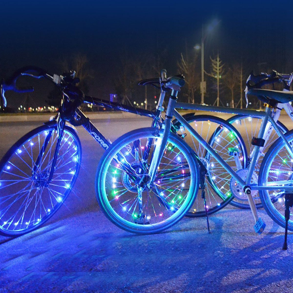 Bike Wheel Light, Ultra Bright LED Bicycle Tire Accessories Cycling Spoke Light String Waterproof - 2 Pack (White)