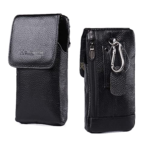 hot sale online b56e1 dd445 Hengwin Holster Pouch, Premium Leather Carrying Case Belt Clip Holster  Smartphone iPhone 8 Plus 7 Plus Holster Pouch Cellphone Sleeve Zipper  Pocket ...