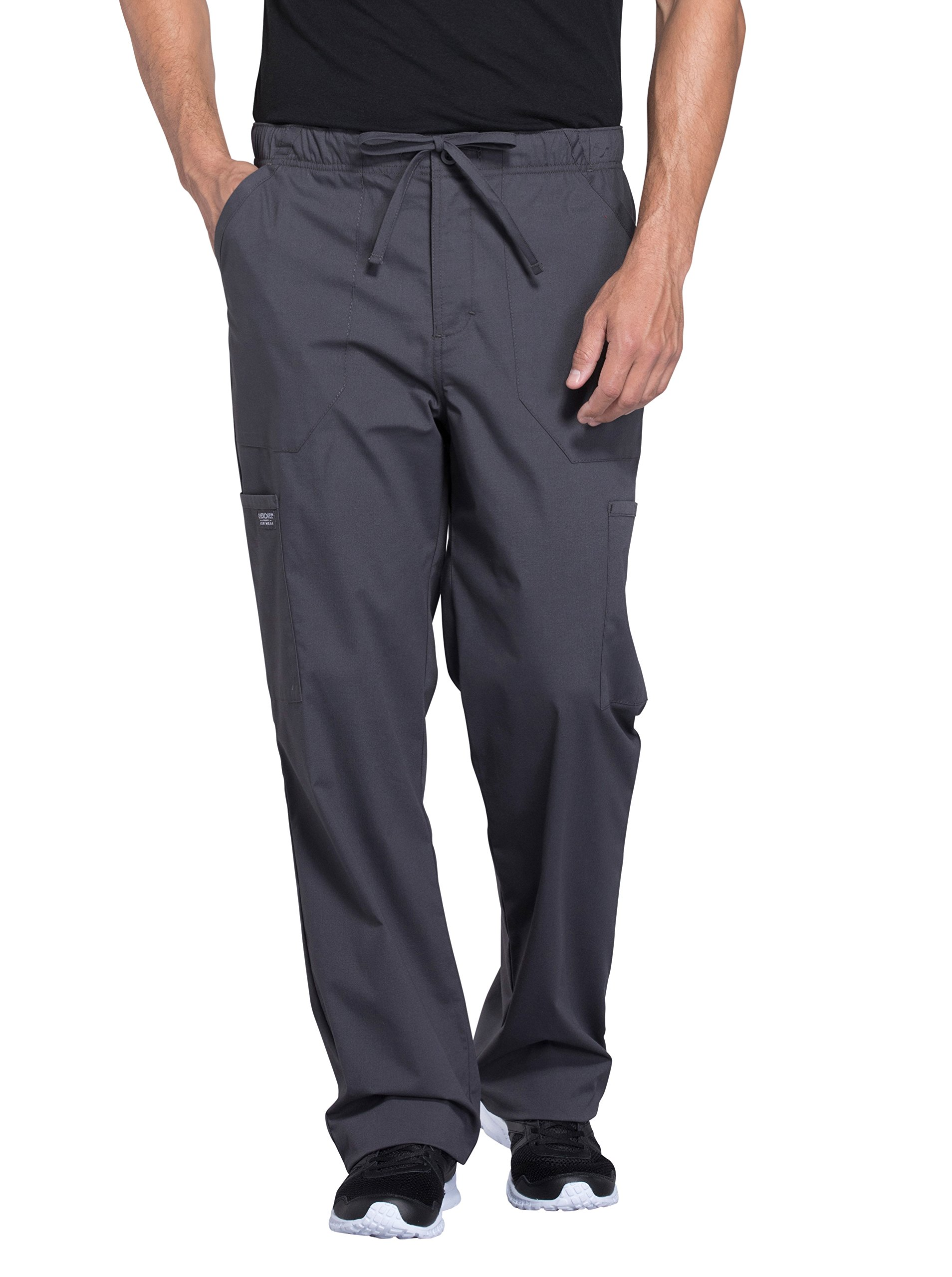 Cherokee Professionals Workwear Men's Tapered Leg Zip Fly Drawstring Scrub Pant Medium Pewter