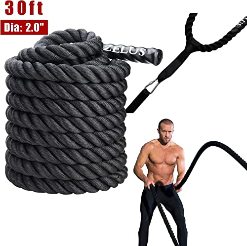 ZELUS Battle Ropes with Anchor Strap Kit Pure Poly Dacron Exercise Ropes 1.5 2in Diameter 30 40 50ft Length Exercise Training Battle Rope for Strength and Conditioning Workouts