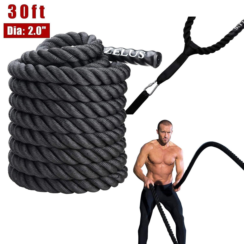ZELUS Battle Ropes Pure Poly Dacron Exercise Ropes