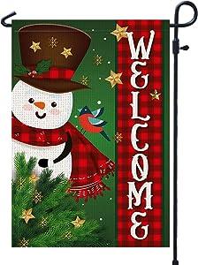 Welcome Winter Snowman Garden Flag Buffalo Plaid - Merry Christmas Garden Flags Burlap 12x18 Double Sided - Farmhouse Christmas Tree Garden Flag for Outside Yard Outdoor Decoration