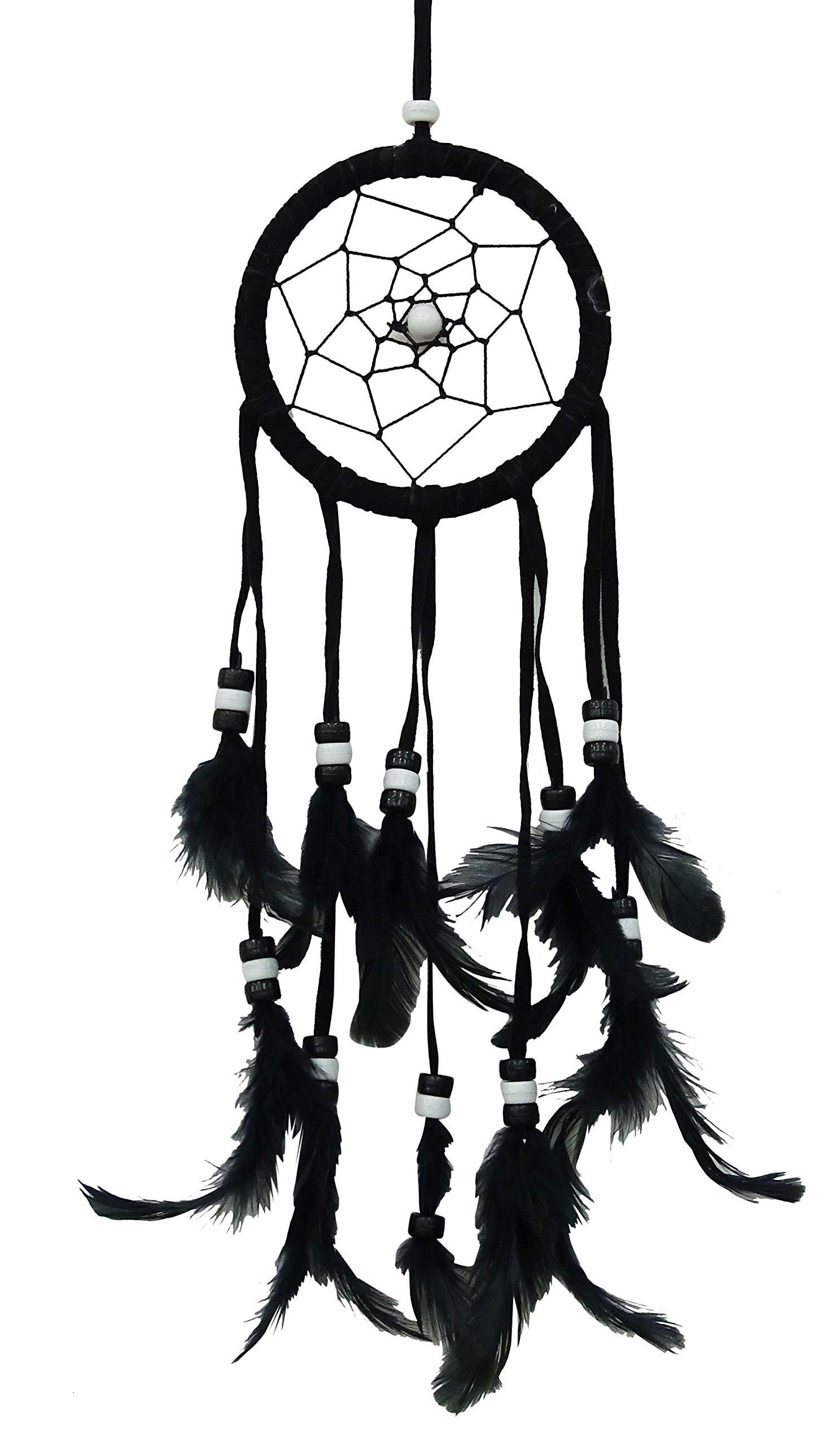 SuSvapnaah Black Faux Feather Dreamcatcher Small Boho Dream Catcher Wall Hanging Window Decor