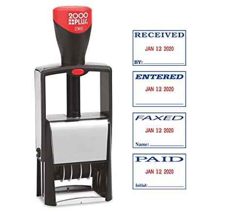 2000PLUS 4 In 1 Message Date Stamp Self Inking Red And