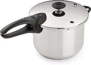 Presto 50 01365 6-Quart Stainless Steel Pressure Cooker, Deluxe, 6 qt, Metallic