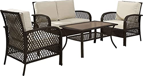 Crosley Furniture KO70037BR-SA Tribeca 4-Piece Outdoor Wicker Seating Set Loveseat
