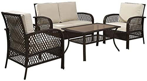 Crosley Furniture KO70037BR-SA Tribeca 4-Piece Outdoor Wicker Seating Set Loveseat, 2 Arm Chairs, Coffee Table , Brown with Sand Cusions