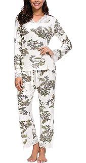 Jusfitsu Women s Pajamas Set Long Sleeve Sleepwear Ladies Soft Loungewear Cotton  PJ Sets Plus Size … 05dcc88b7