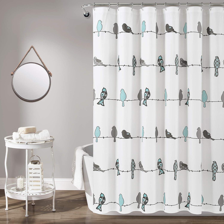 Lush Decor, Blue and Gray Rowley Shower Curtain-Floral Animal Bird Print Design for Bathroom, x 72