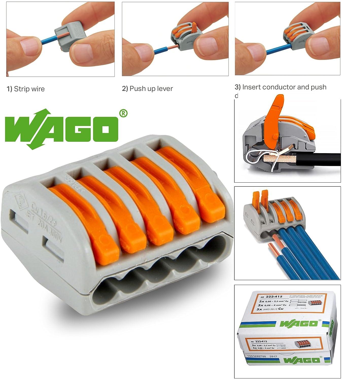 Wago 222 Series Spring Lever Reusable Terminal Block Connector 2 3 8 Way 5