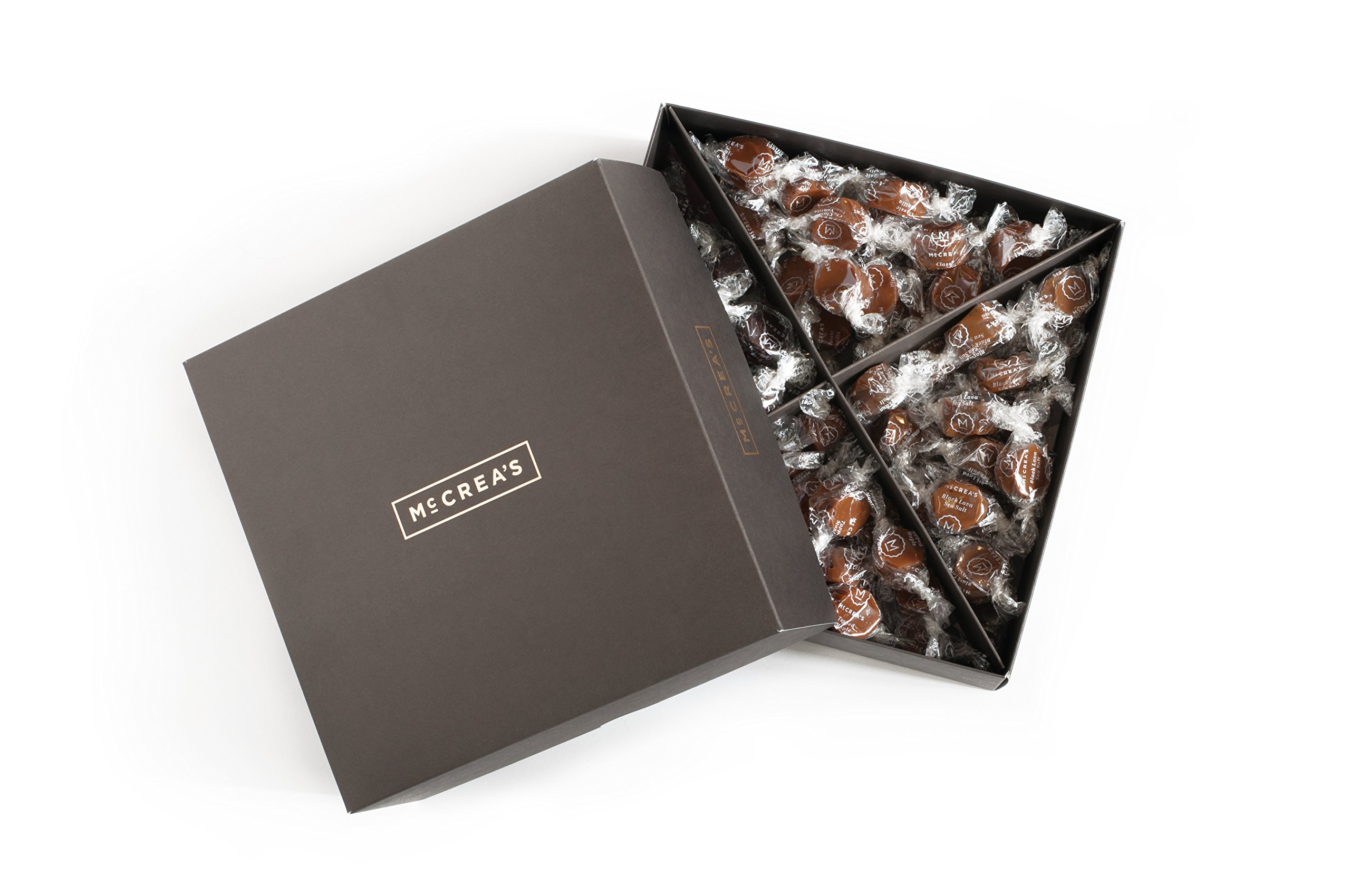 McCrea's Candies Party Box Black Lava Sea Salt Deep Chocolate Tapped Maple Vanilla Caramels Made in Boston by McCrea's Candies