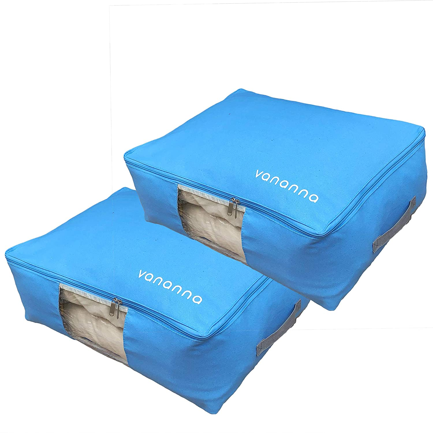 Vananna Foldable Canvas Under Bed Storage Bag with Clear Viewing Window Sweaters Comforters Space Saver for Blankets Clothes Beige Linens