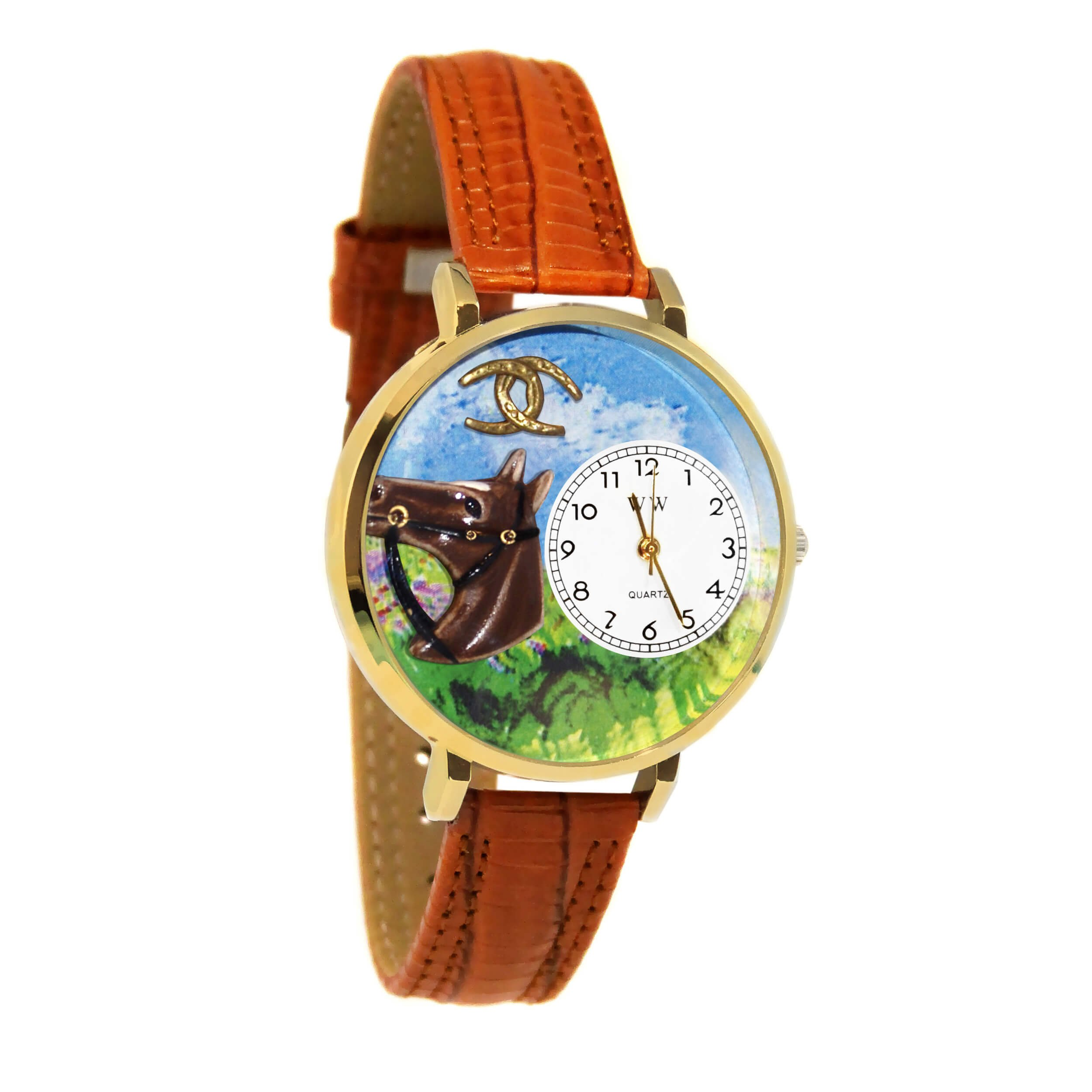 Whimsical Watches Unisex G0110005 Horse Head Brown Leather Watch