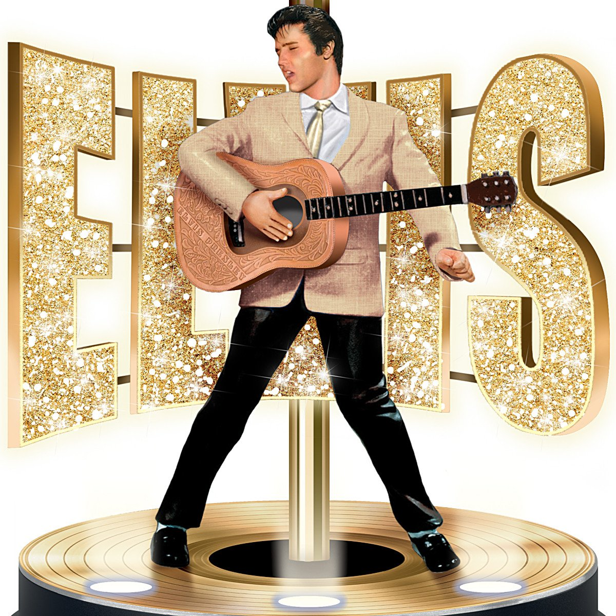 Elvis Presley Golden Legend Tabletop Lamp with Gold Record Stage ...