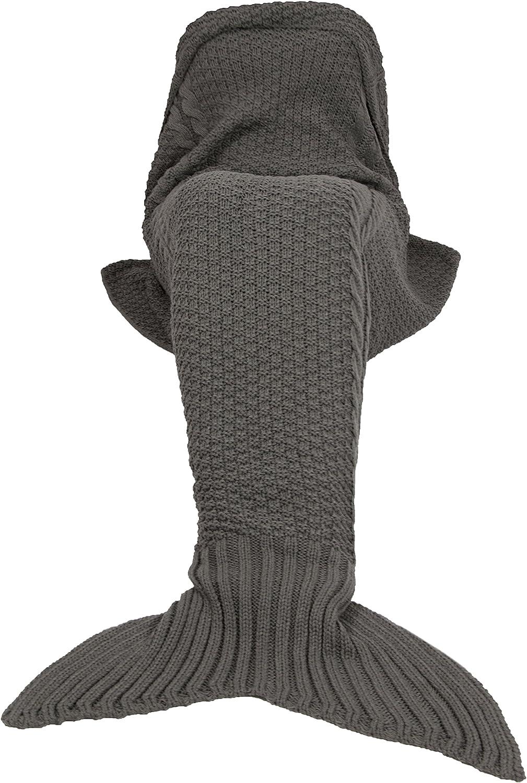 ZOLLNER Manta de Sirena, de Punto, para niños y Adultos, 60x180 cm, Gris