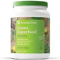 Amazing Grass Green Superfood, Energy Lemon Lime, Powder, 100 Servings, 24.7oz, Matcha Green Tea, Yerba Mate, Wheat Grass, Spirulina, Alfalfa, Acai, Greens, Vegan, Vitamin K, Probiotic