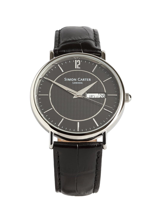 Simon Carter Herren-Armbanduhr WT1909 Black Analog Leder Schwarz WT1909 Black
