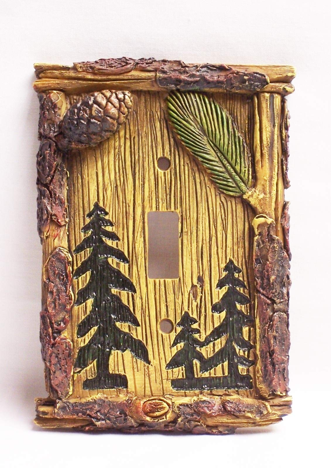eyesonme Pine Tree Single Light Switch Rustic Cover Home & Cabin Decor