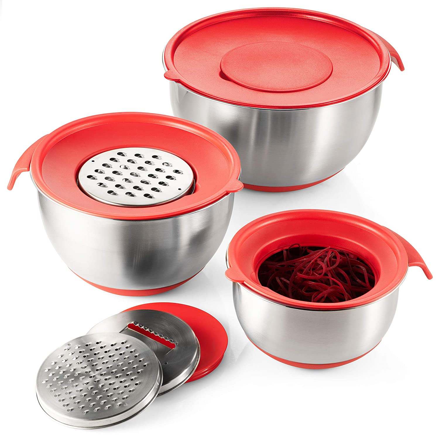 Nesting Mixing Bowls with Handle and Pour Spout Non Slip Mixing Bowls with Silicone Base Black Klee Stainless Steel Mixing Bowl Set of 3 with Grater Attachments Mixing Bowls with Airtight Lids
