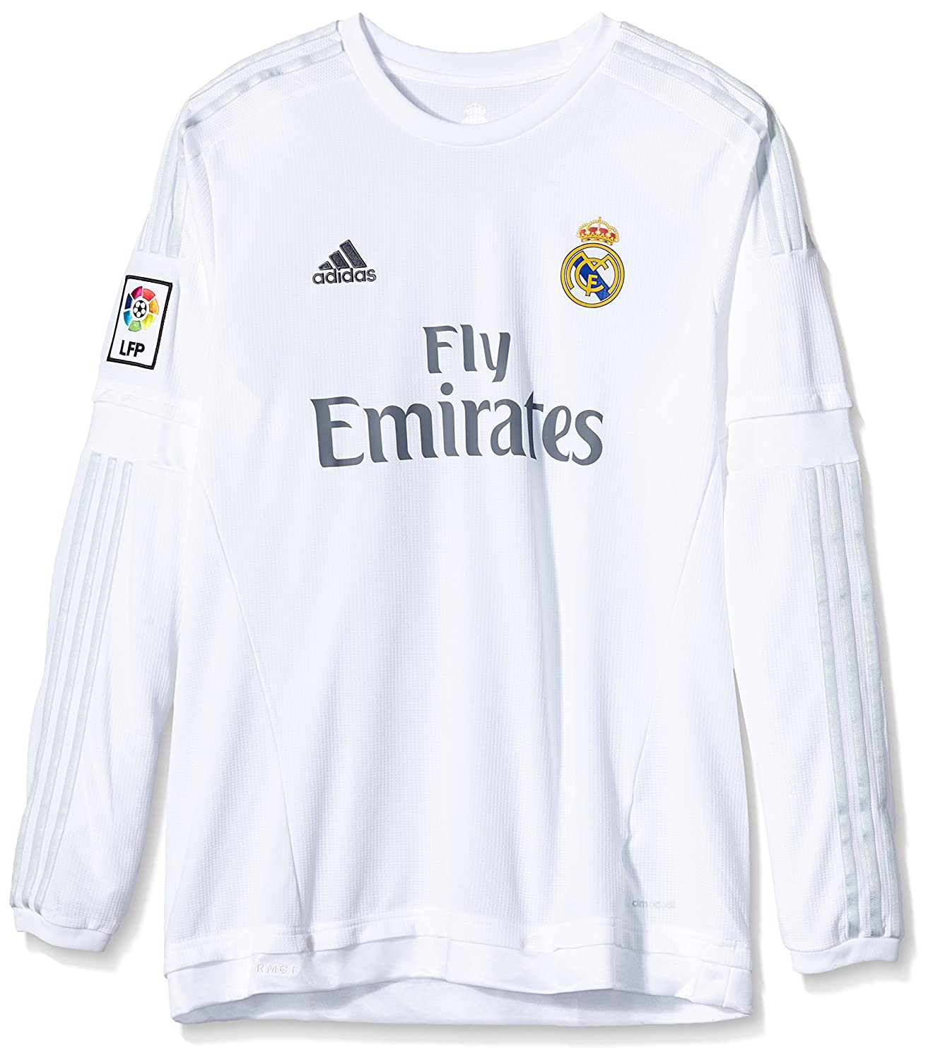 dfe4b4ab4 adidas Men s H Long Sleeve Real Madrid Third Jersey Silver White GRICLA