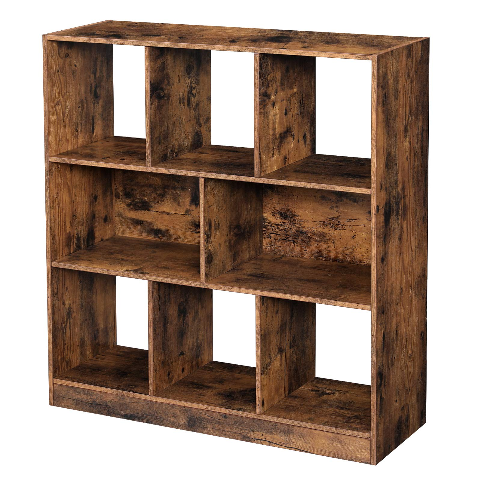 VASAGLE Wooden Bookcase with Open Cubes and Shelves, Free Standing Bookshelf Storage Unit and Display Cabinet, for Living Room, Study Room, 33.9 x 11 x 37.2 Inches, Rustic Brown ULBC52BX