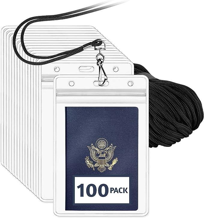 10x//1 set ID Badge Card 95x80mm Plastic Pocket Holder Clear Pouche ODHN