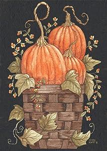 Briarwood Lane Pumpkin Trio Autumn Garden Flag Primitive Fall Basket 12.5