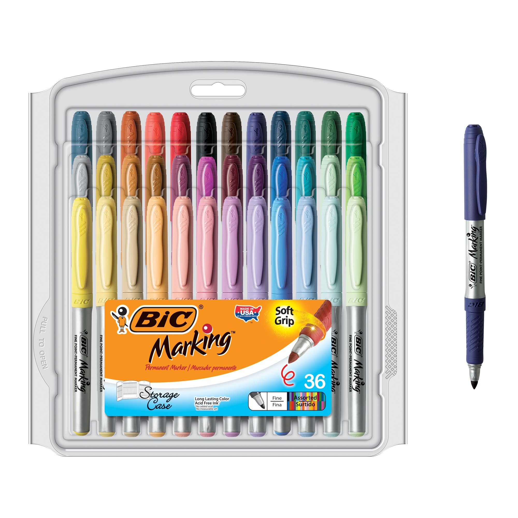 BIC Marking Fashion Permanent Marker, Fine Point, Assorted Colors, 36-Count