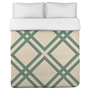 One Bella Casa Thatched Lightweight Duvet Cover by OBC, Full/Queen, Ivory/Grayed Jade