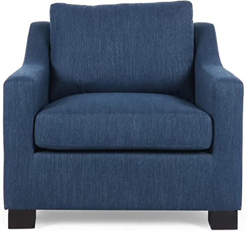 Christopher Knight Home Wesley Contemporary Fabric Club Chair, Navy Blue, Dark Brown