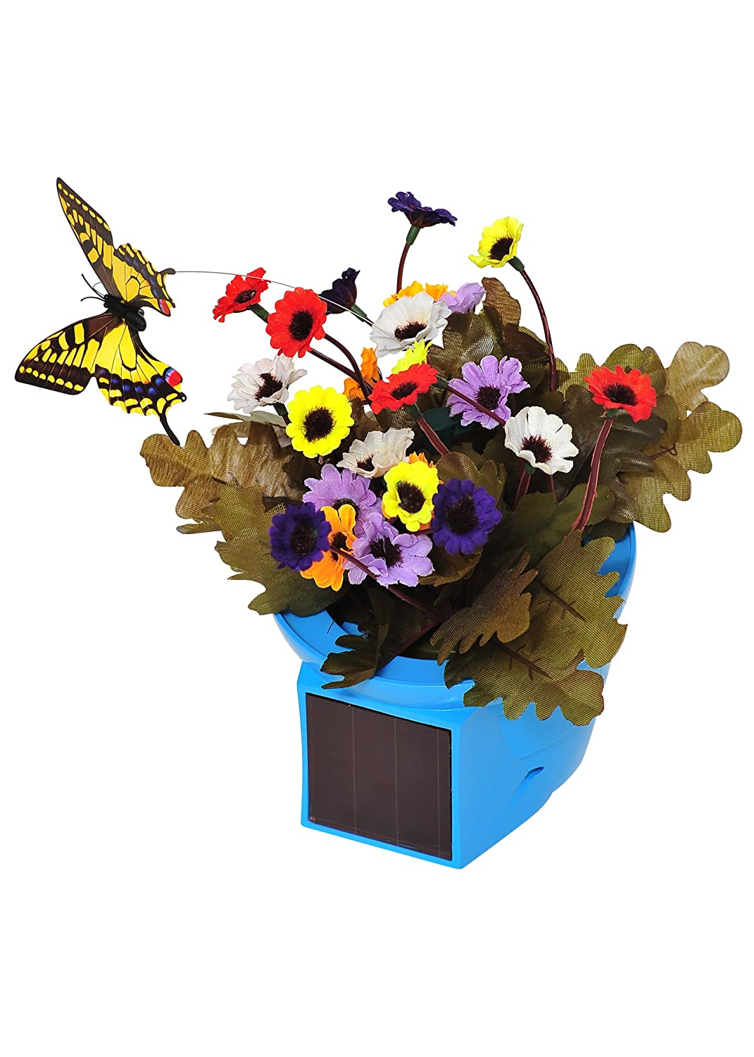 30%OFF Russco Lll GD124050 Solar Pals Blue Pot With Fluttering Red Butterfly  Patio Centerpiece
