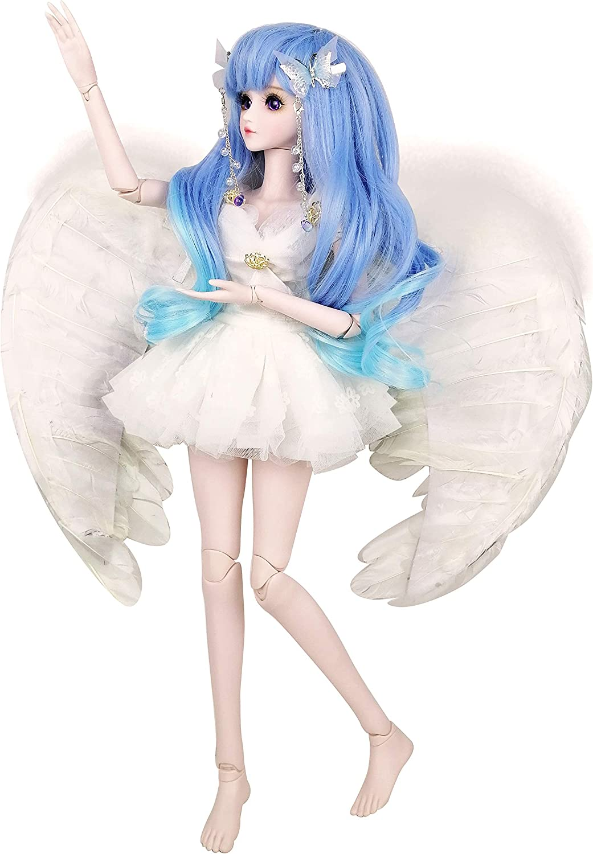 EVA BJD 22 Zoll 1//3 White Angel Fairy M/ädchen Feder-Fl/ügel-Kugelgelenk-Puppe BJD SD-Puppen-Geschenk-Spielzeug Handmade Make-up der volle Satz