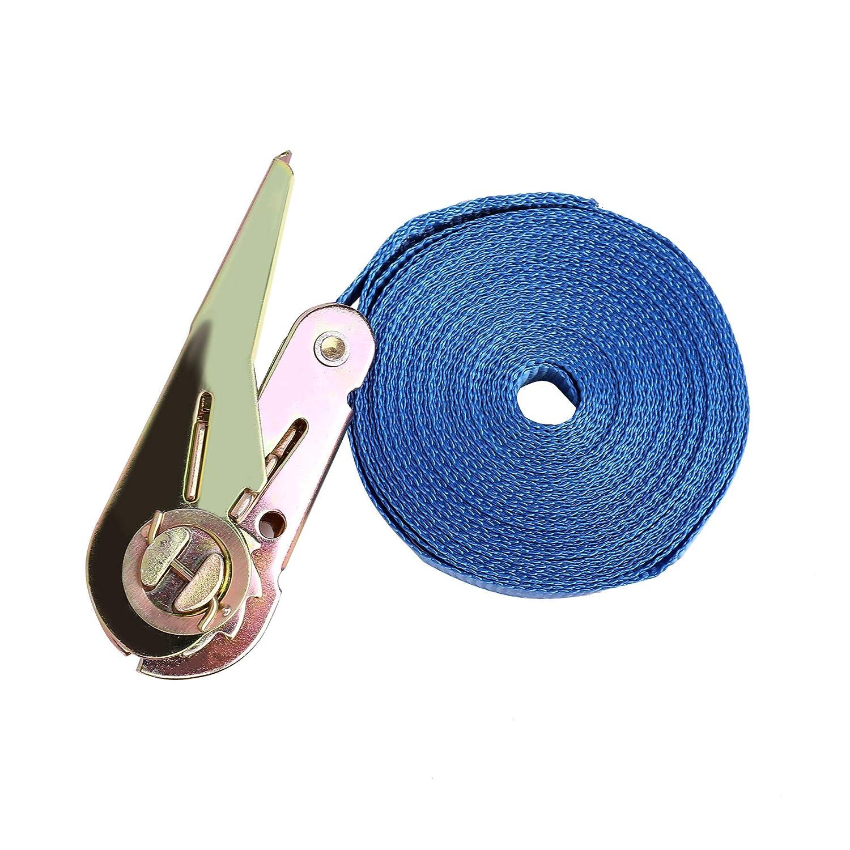Azul Z ZELUS 10PCS 6m Correas de Amarre con Capacidad de 800 kg Cintur/ón de Tensi/ón de Trinquete Conjunto de Correa de Transporte Robusto para Extracci/ón