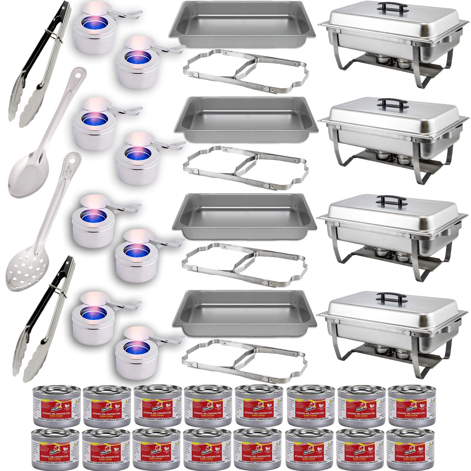 Chafing Dish Buffet Set w/Fuel — Folding Frame + Water Pan + Food Pan (8 qt) + 8 Fuel Holders + 16 Fuel Cans + 4 Serving Utensils (15'' Perforated and Solid Spoon + two 9'' Tongs) – 4 Full Warmer Kit
