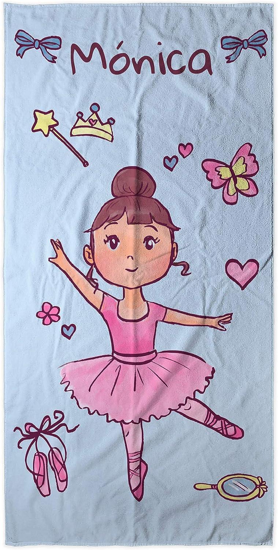 LolaPix Toalla Bebé Personalizada con Nombre | Toalla Infantil niño niña bebé | Regalo Original Playa Piscina Camping | Varios Diseños y Tamaños | Bailarina Rosa