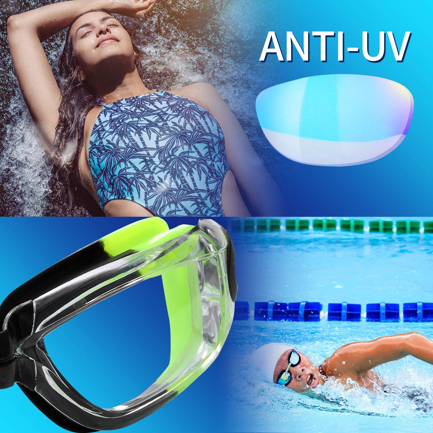 Rngeo Swim Goggles No Leaking Anti Fog UV 400 Protection Waterproof 180 Degree Triathlon Pool 2 Pack Swimming Glasses with Electroplating and Transparent Lenses for Adult Men Women Youth Kids Child