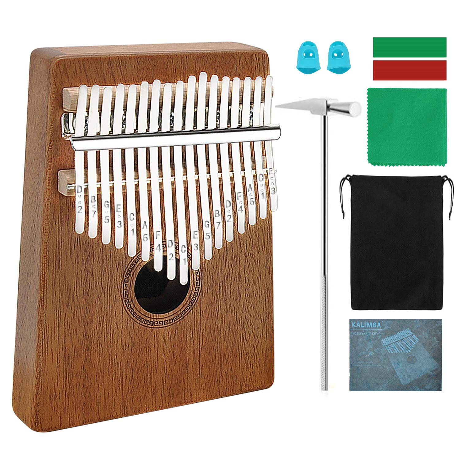 HeyMate Kalimba 17 keys with Instruction and Tune Hammer, Portable Thumb Piano Mbira Sanza Mahogany Body Ore Metal Tines 1 Piece